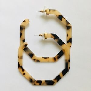 Large Tortoise Shell Acetate Hoops